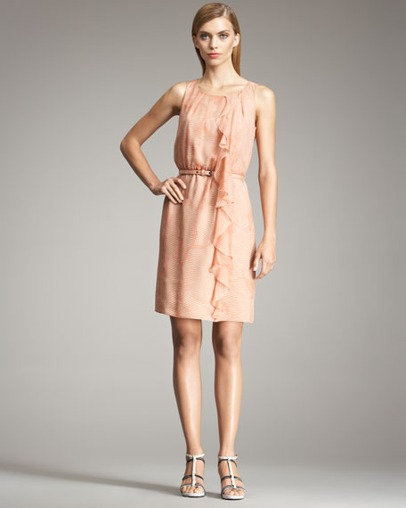 Draped-Ruffle Seersucker Dress