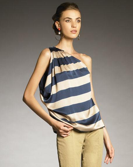 One-Shoulder Striped Top