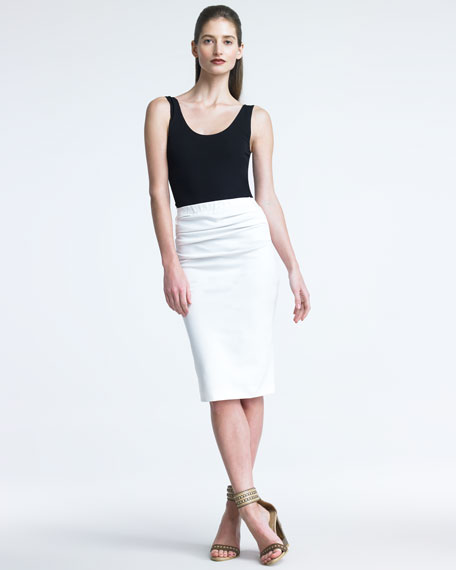 Jersey Pencil Skirt, Ivory