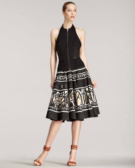Mask-Print A-Line Skirt