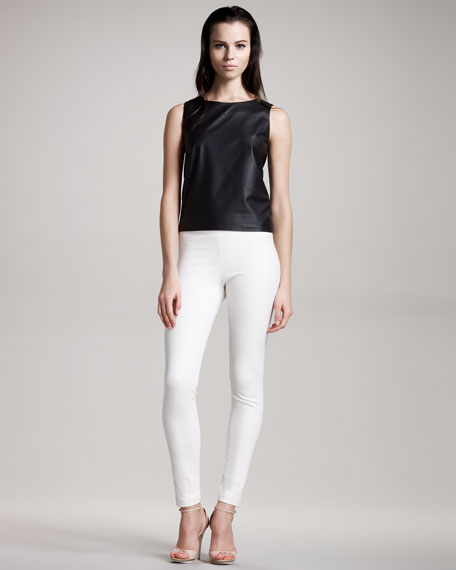 Zip-Back Leather Top