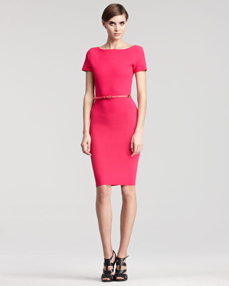 Cap-Sleeve Stretch Knit Dress