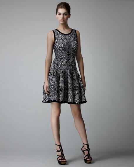 Full-Skirt Barnacle Intarsia Dress