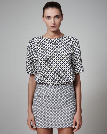 Diamond-Print Miniskirt