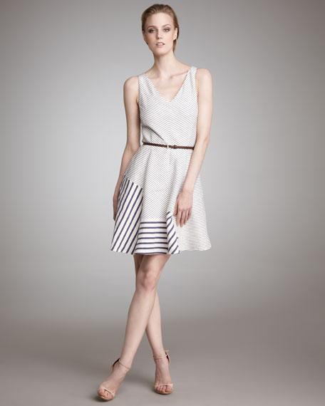 Mixed-Stripe V-Neck Dress