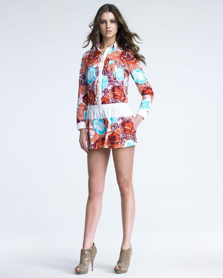 Hawaiian-Print Poplin Jumpsuit