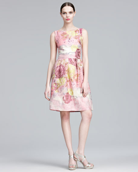 Floral-Jacquard Sheath Dress