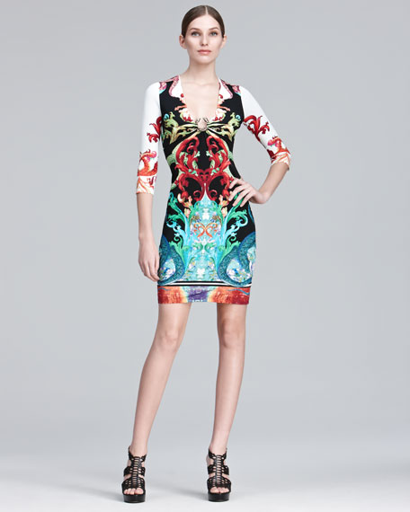 Printed Jersey Sheath Dress