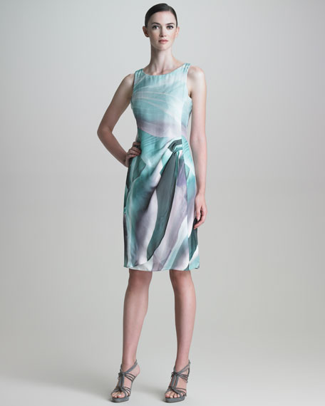 Wrap-Illusion Silk Dress