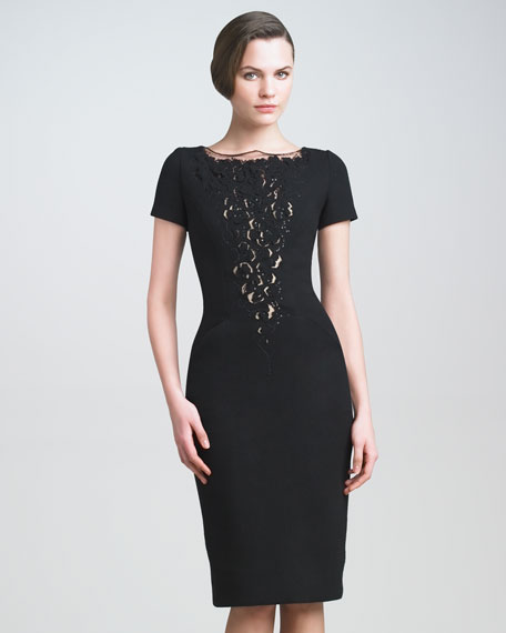 Lace-Plunge Crepe Dress