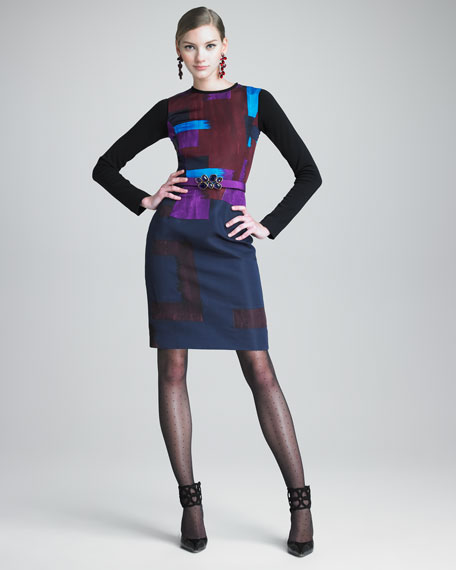 Printed Silk Faille Dress With Knit Sleeves