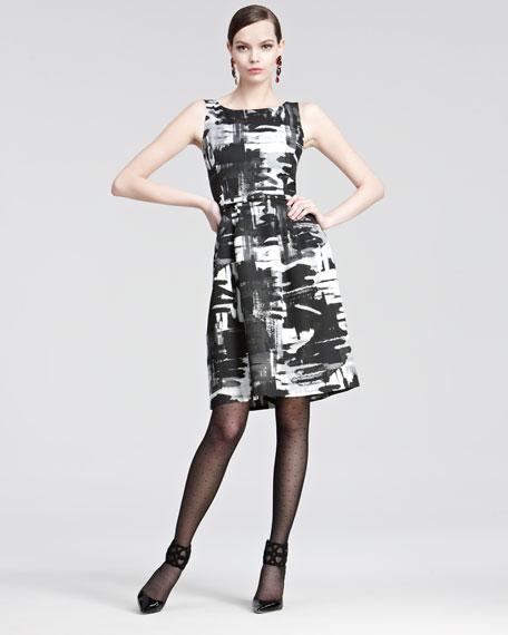 Brushstroke-Print Belted Dress