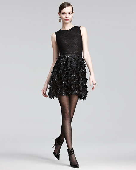 Lace & Laser-Cut Combo Dress