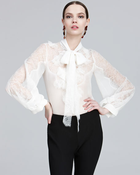 Chantilly Lace Tie-Neck Blouse