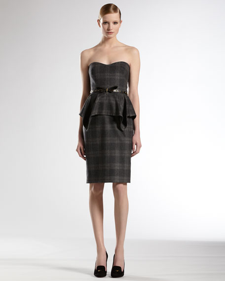 Belted Strapless Dress