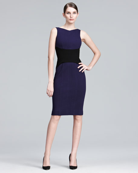 Contrast-Waist Sheath Dress