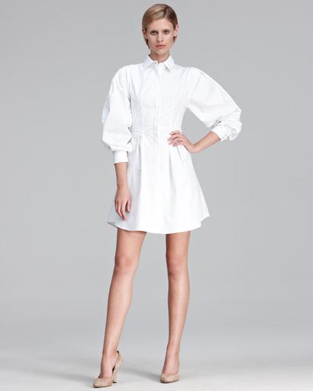 Puff-Sleeve Poplin Shirtdress
