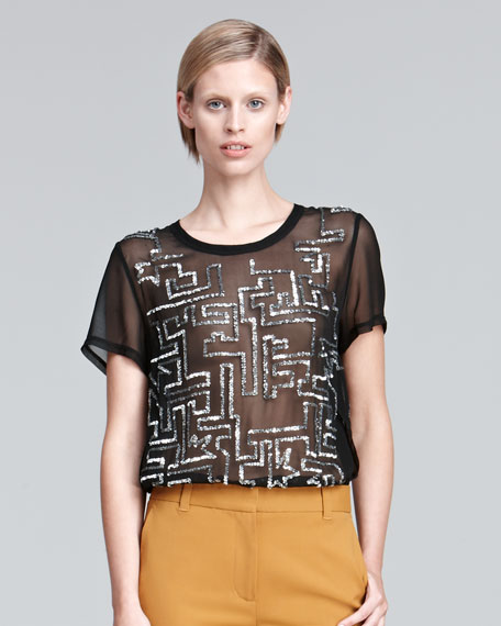 Short-Sleeve Sequined Silk Top