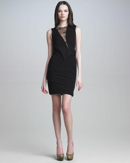 Lace-Panel Jersey Dress