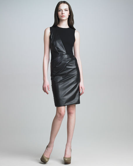 Leather Combo Dress