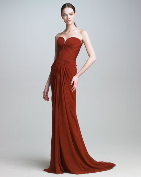 Silk Mousseline Strapless Gown