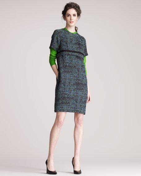 Tweed Raglan-Sleeve Dress
