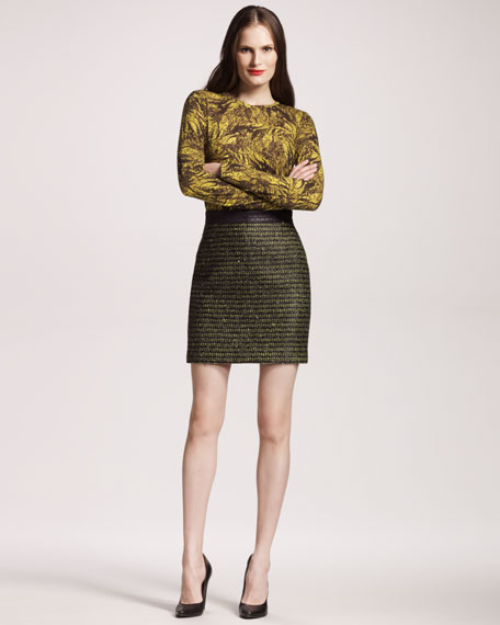 Metallic Tweed Skirt