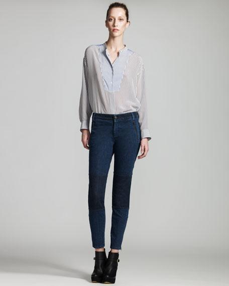 Knee-Patch Skinny Jeans