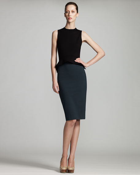 Two-Tone Peplum Dress