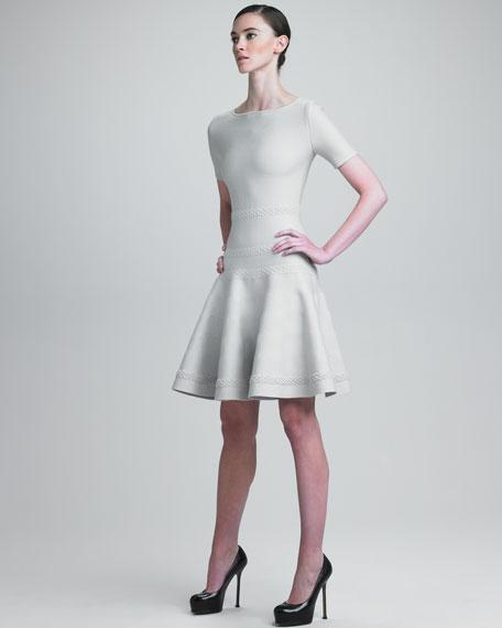 Flounce-Skirt Knit Dress