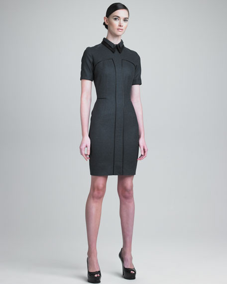 Layered Leather-Collar Dress