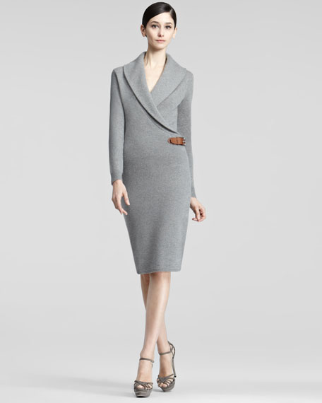 Long-Sleeve Cashmere Dress