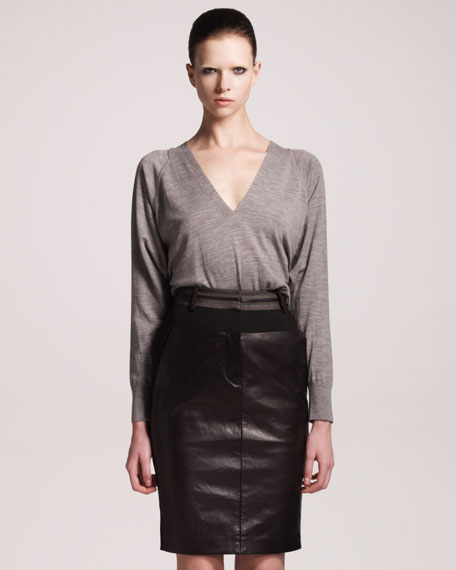 Leather-Panel Pencil Skirt