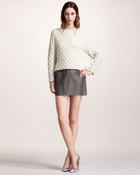 Croc-Embossed Miniskirt