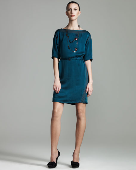 Satin T-Shirt Dress, Blue Canard