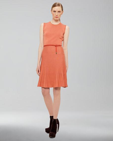 Ribbed-Skirt Dress
