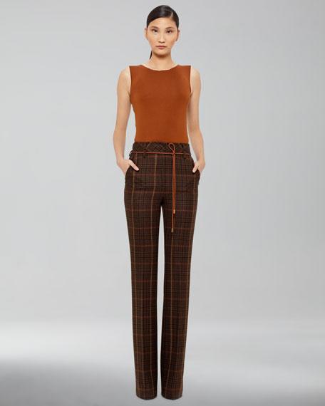 Plaid Wool Boot-Cut Pants