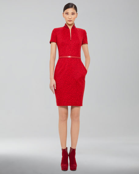 Wool Jacquard Zip-Front Dress