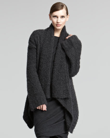 Cashmere Boucle Knit Cardigan, Charcoal