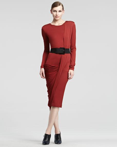 Luster Jersey Long-Sleeve Dress