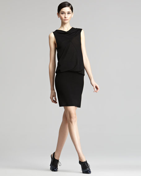 Drape-Top Jersey Dress