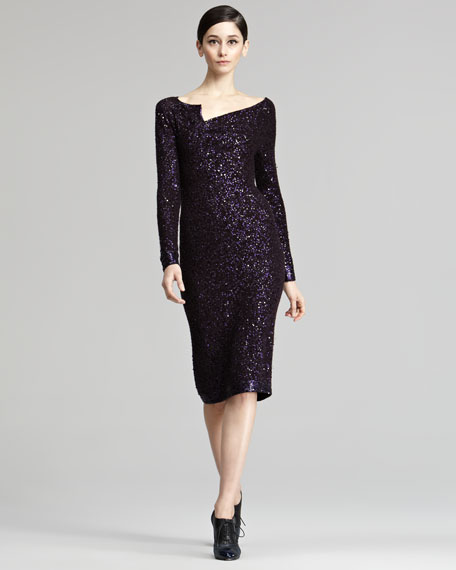 Asymmetric Sequined Dress