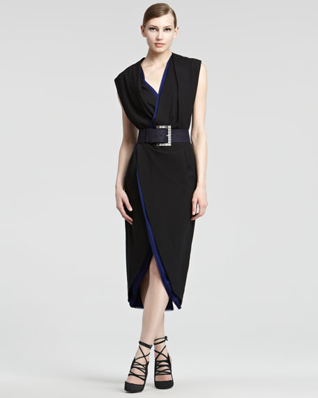 Contrast Jersey Wrap Dress