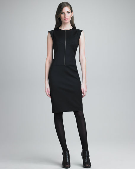 Zip-Front Sateen Dress