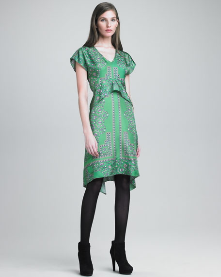 Paisley-Print Satin Dress
