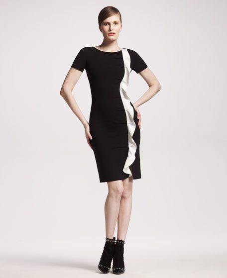 Side-Ruffle Jersey Dress