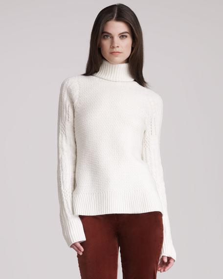 Chunky Turtleneck A-Line Sweater