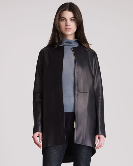 Long Leather Cocoon Coat
