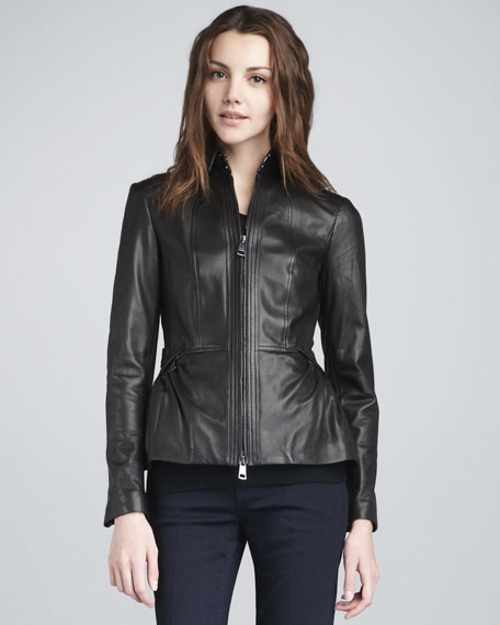 Cinched Leather Jacket