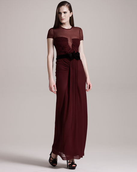 Sheer-Top Chiffon Gown